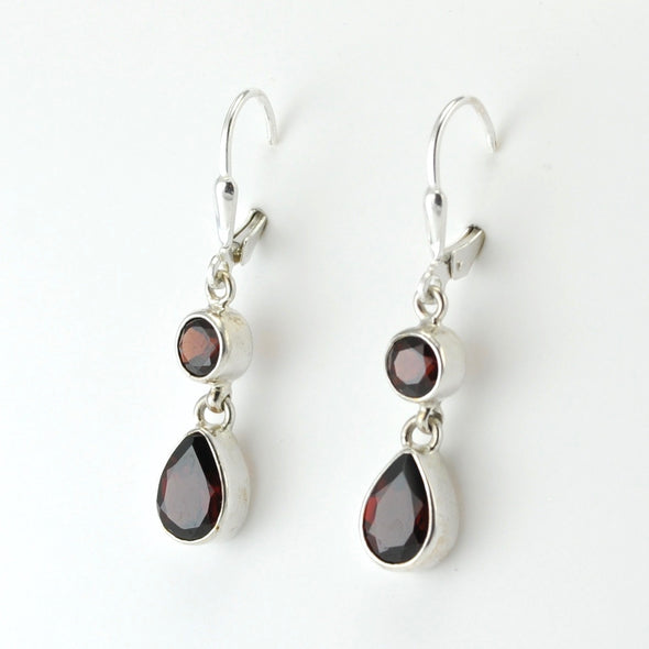 Silver Garnet Round Tear Dangle Earrings