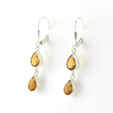 Silver Citrine 2 Tear Dangle Earrings
