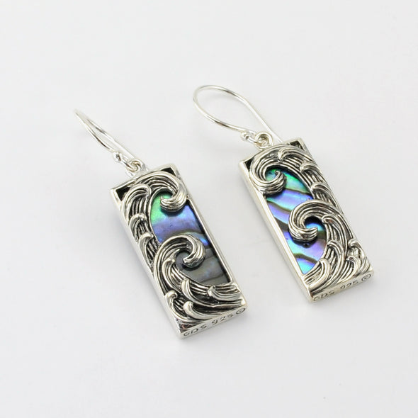 Silver Abalone Rect Wave Earrings