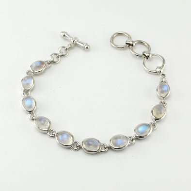 Silver Moonstone Oval Toggle Bracelet