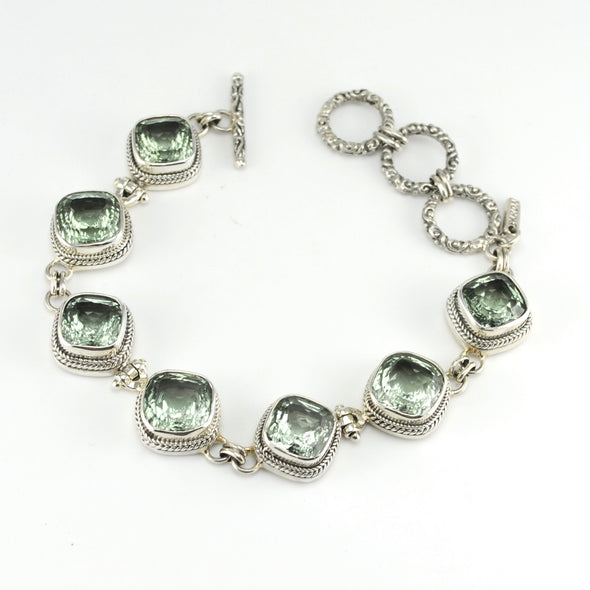 Silver Green Amethyst 7 Stone Toggle Bracelet