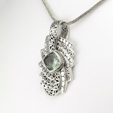 Silver Green Amethyst Large Bali Pendant