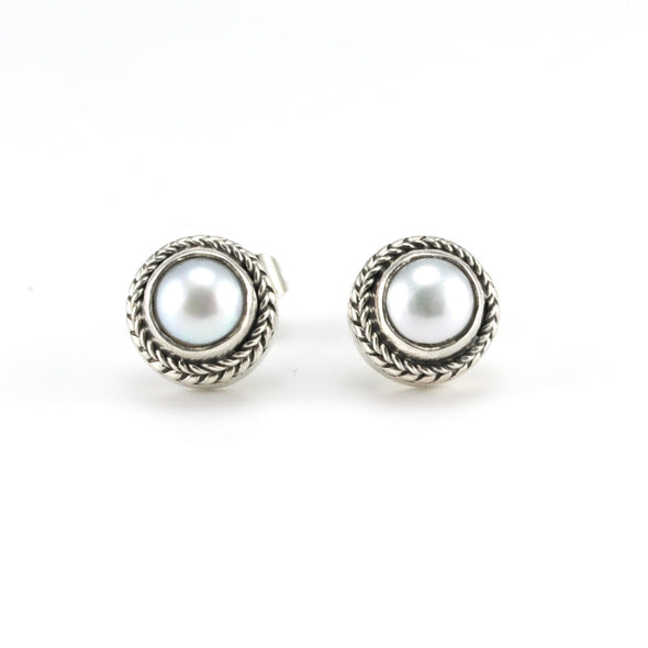 Silver Pearl Bali Post Earrings