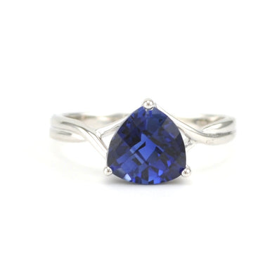 Silver Created Sapphire 2.4ct Trillion Ring