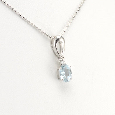 Silver Aquamarine .7ct Diamond .02 Necklace