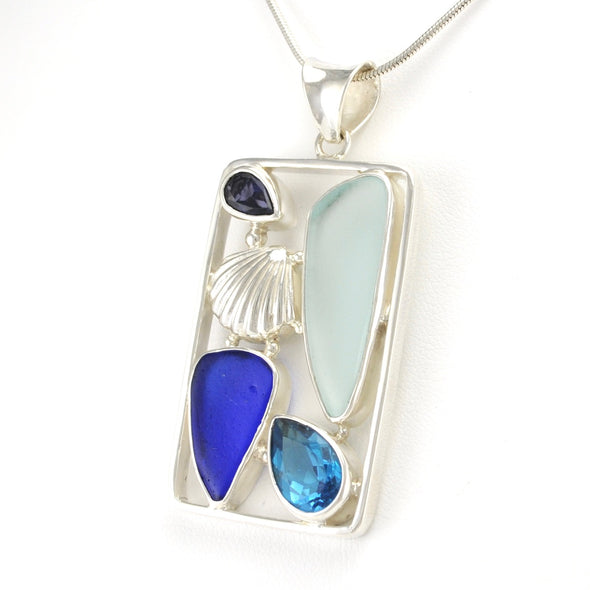 Silver Topaz Iolite Sea Glass Pendant