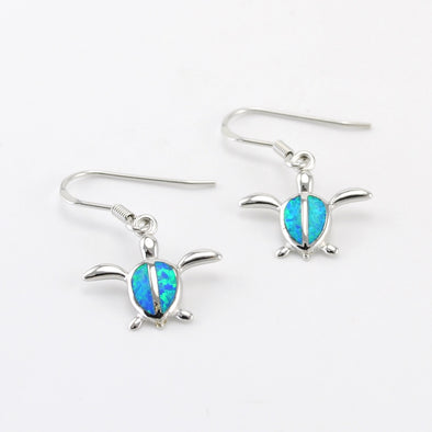 Silver Created Opal Sea Turtle Dangle Earrings