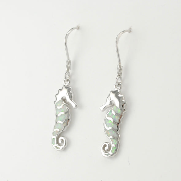 Silver Created Opal White Seahorse Earrings