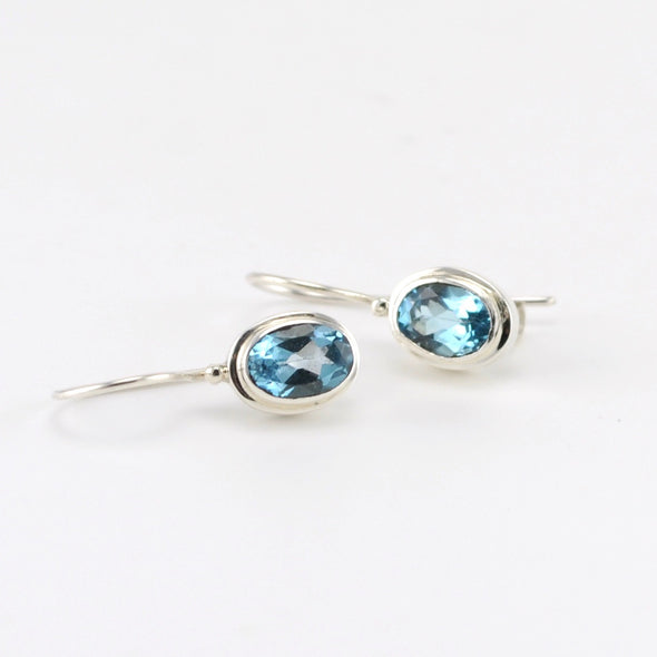 Silver Blue Topaz Oval Drop Earrings