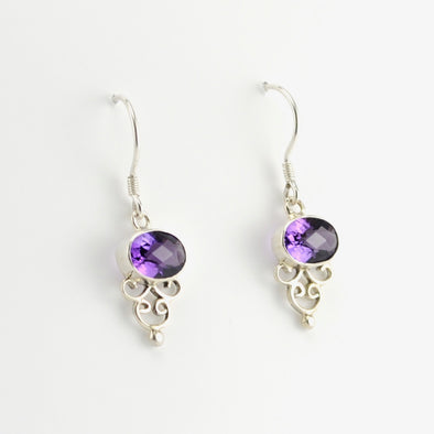 Sterling Silver Side Oval Amethyst Earrings