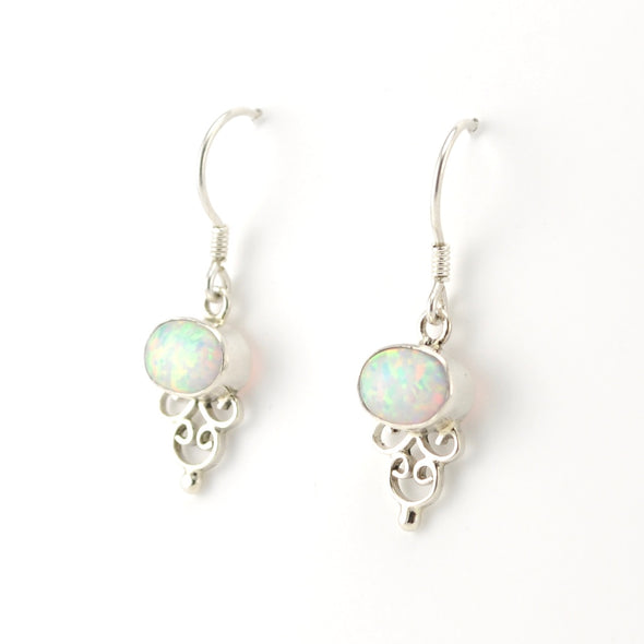 Sterling Silver Side Oval Opal Earrings
