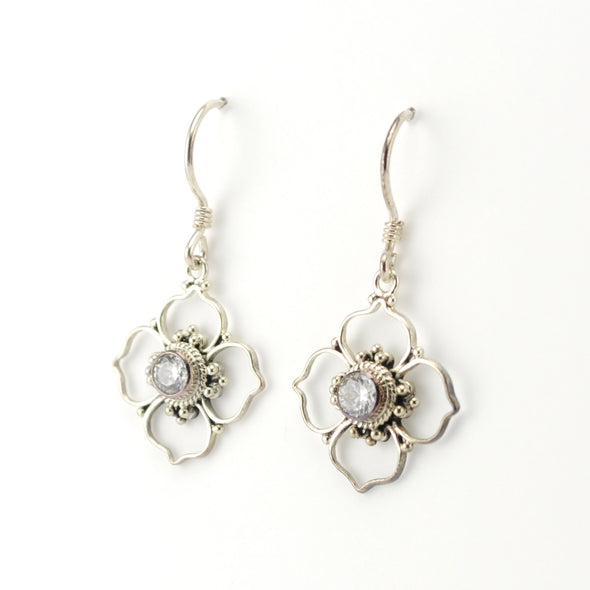 Silver CZ Flower Bali Earrings