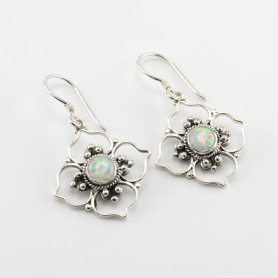 Silver Created Opal Flower Earrings