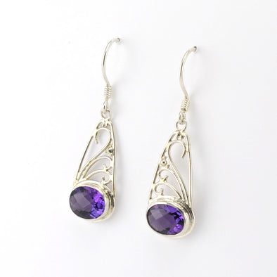 Silver Amethyst Side Oval with Scroll Earrings