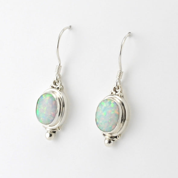 Silver Created Opal Oval Dangle Earrings