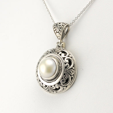 Sterling Silver Pearl Bali Round Pendant