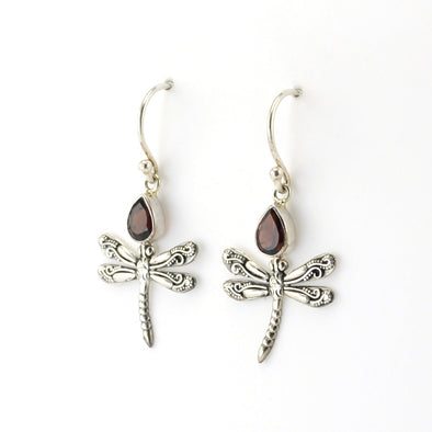 Sterling Silver Garnet Dragonfly Earrings