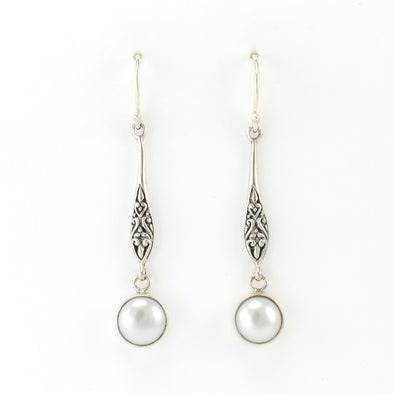 Silver Pearl Long Drop Earrings