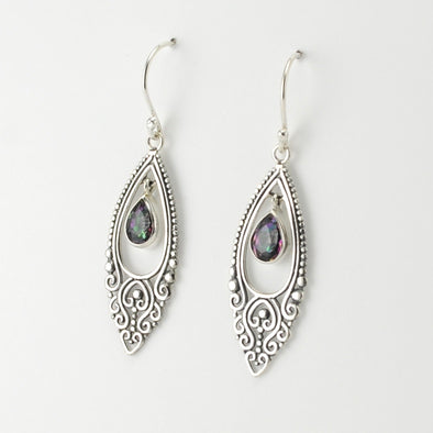 Silver Mystic Quartz Tear in Marquise Earrings