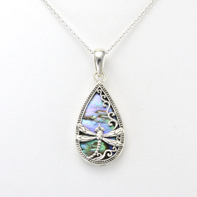 Silver Abalone Dragonfly Tear Necklace