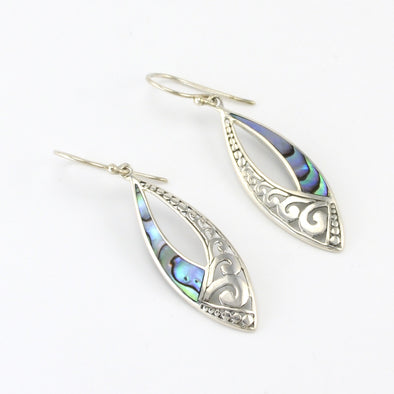 Silver Abalone Marquise Dangle Earrings
