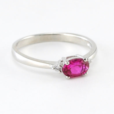 Silver Created Ruby .6ct CZ Ring