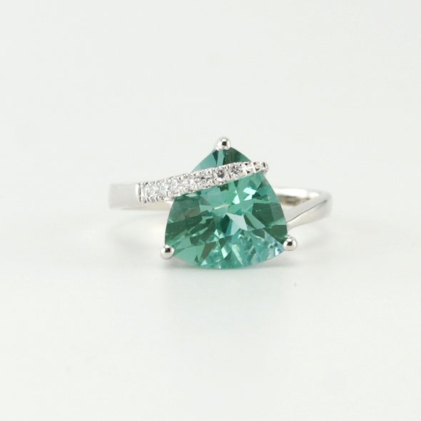 Silver Green Spinel 4ct Trillion CZ Ring