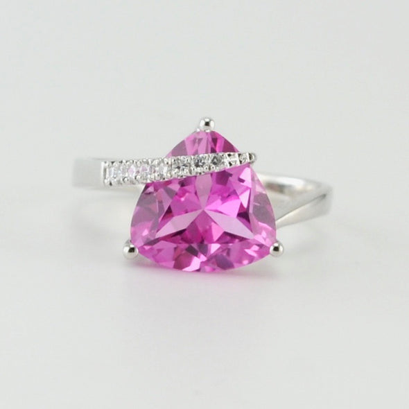 Silver Pink Sapphire Trillion CZ Ring
