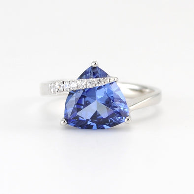 Sterling Silver Created Blue Sapphire 4.2ct Tri CZ Ring