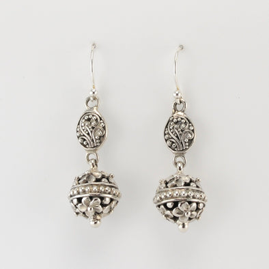 Sterling Silver Bali Bead Dangle Earrings