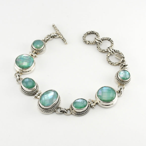 Sterling Silver Chalcedony Mother of Pearl Triplet Link Bracelet