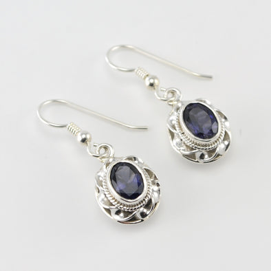 Silver Iolite 6x8mm Oval Dangle Earrings