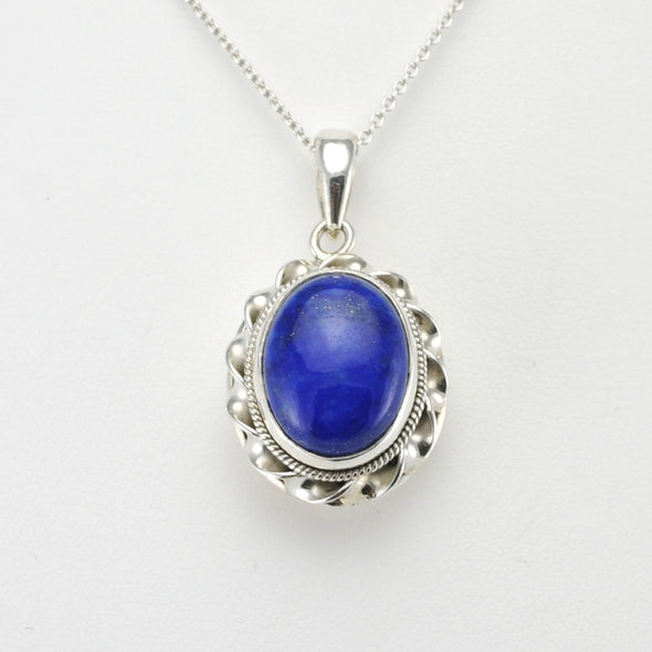 Silver Lapis 12x16mm Oval Pendant