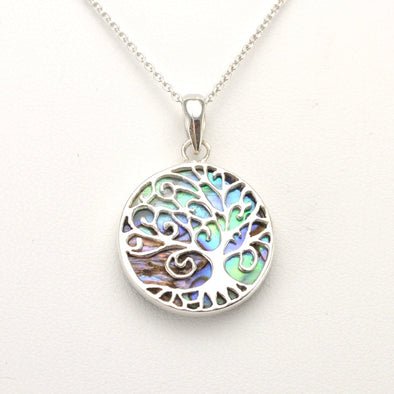 Silver Abalone Willow Tree Necklace