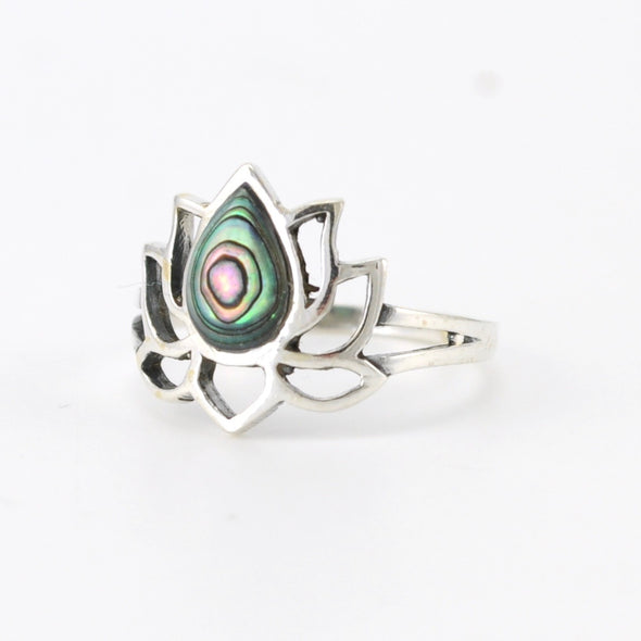 Silver Abalone Lotus Flower Ring