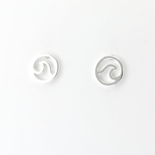 Silver Circle Wave Post Earrings