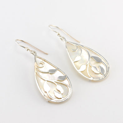 Silver Mother of Pearl Leaf Earrings