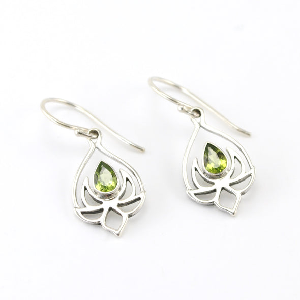 Silver Peridot Lotus Earrings