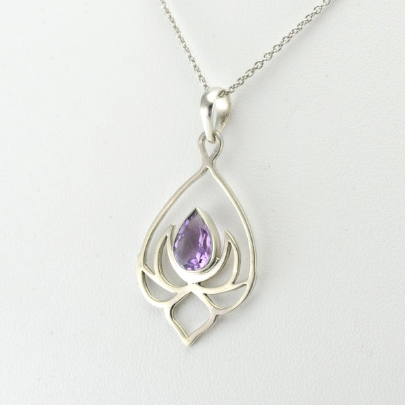 Silver Amethyst Lotus Necklace