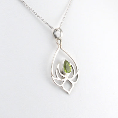 Silver Peridot Lotus Necklace