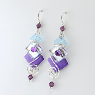 Purple Fused Glass 3 Square Dangle Earrings