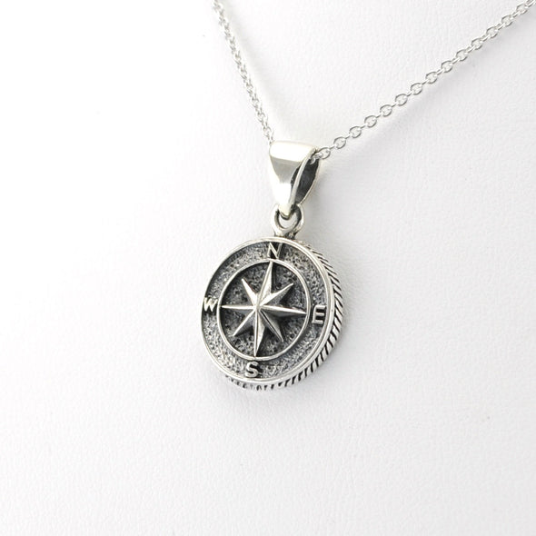 Silver Compass 3D Necklace
