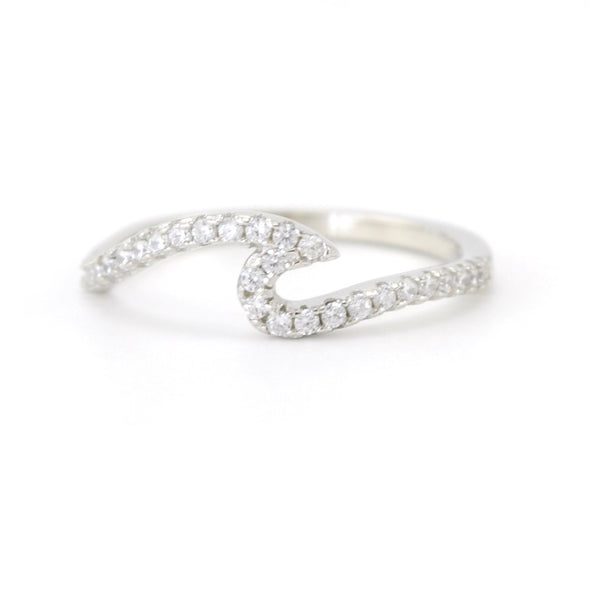 Silver Cubic Zirconia Wave Ring 5