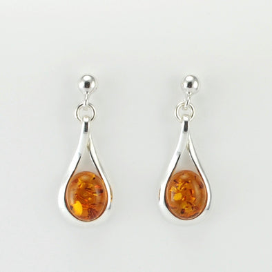 Silver Baltic Amber Tear Twist Dangle Earring
