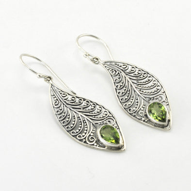 Silver Wave Bali Peridot Earrings