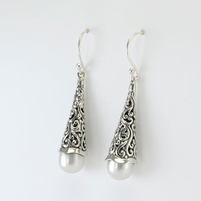 Silver Long Bali Pearl Drop Earrings