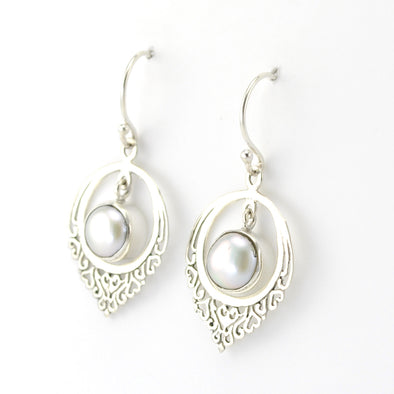 Silver Round Pearl Filigree Earrings