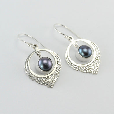 Silver Round Grey Pearl Filigree Earrings