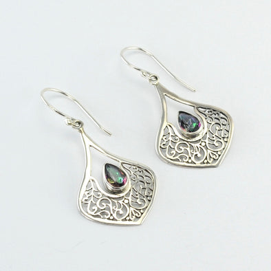 Silver Wide Marquise Filigree Tear Mystic Quartz Earrings