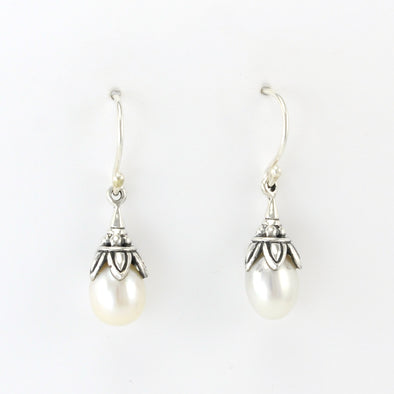 Silver Pearl Drop Bali Earrings